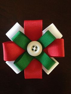 Red and Green Holiday Christmas Hair Bow Clip by SandmansDream, $2.00