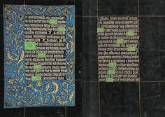 Office of the Dead: Matins (Third Nocturn, continuation) | Fols. 114v–115r | The Black Hours | artist unknown | 1480 | Belgium; Bruges | Morgan Library & Museum | MS M.493 | This Book of Hours, referred to as the Black Hours, is one of a small handful of manuscripts written and illuminated on vellum that is stained or painted black.