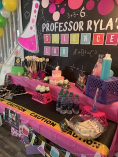 Science themed birthday party for my 6 year old ideas for 6 year olds Easy Birthday Party Games, Girls Birthday Party Themes, Party Themes For Boys, Birthday Party Invitations, Spy Party, 8th Birthday, Birthday Ideas, Mad Science Party, Mad Scientist Party