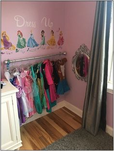 Girls Dress up corner perfect for a little princess Girls Dress up corner perfect for a little princess Say Goodbye To Dangerous Metal Bristles Girl's Princess Room Decor Little Girl Dress Up, Girls Dress Up, Baby Dress, Toddler Dress Up, Disney Princess Bedroom, Princess Curtains, Princess Disney, Princess Room Decor, Princess Dress Up