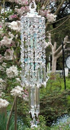 Crystal chandelier and sea glass wind chime