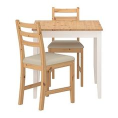 LERHAMN  Table and 2 chairs, light antique stain, Vittaryd beige $149 Article Number : 290.072.04 Size 74x74 cm  Chair: Basematerial: Solid pine, Stain, Clear acrylic lacquer Seat: Fibreboard, Polyurethane foam 35 kg/cu.m. Protective fabric: Non-woven polypropylene Cover: 35% cotton, 65% polyester  Table: Solid pine, Stain, Clear acrylic lacquer