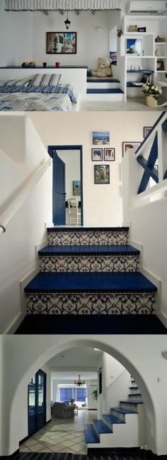 I love how thr blue and the white go Great together. Such great Mediterranean Greek style...different color might work too
