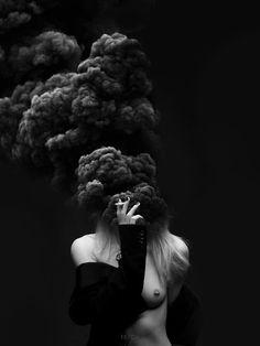 Girl in smoke