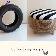 Meet L'Otto, a multifunctional ottoman that will add character to your home decor. We don't want to let so much rubber go to waste, so we are turning car tires into unique products, that are also sustainable for the environment. #upcycle #upcycling #usedtires #homedecor #upcycledtires #interiordesign #rope #furniture #upcycled#handmade #handcrafted#repur<br> Diy Crafts For Home Decor, Upcycled Home Decor, Diy Home Decor On A Budget, Tire Furniture, Diy Furniture Decor, Furniture Design, Balkon Design, Old Tires, Handmade Home