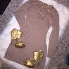 Long Sleeve Tee Shirt Dress in Tan Perfect stretch dress to be comfortable and sexy at the same time. Pair with ankle boots or heels to complete the look. Dresses Midi