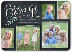 Chalkboard Berry Blessings Religious Christmas Card, Rounded Corners, Black