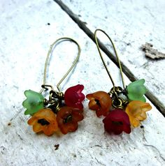 Fall color baby bell dangle earrings, Lucite and bronze jewelry. dangle. -  - McKee Jewelry Designs - 2
