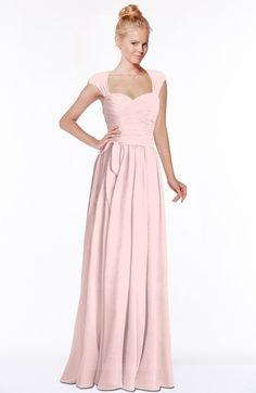 Pastel Pink Modest Sleeveless Half Backless Chiffon Floor Length Bridesmaid Dresses (Style D98406)