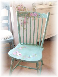 shabby chic Hand painted chair www.shabbyrosestudio.com
