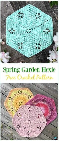 Crochet Spring Garden Hexie Free Pattern - #Crochet #Hexagon Motif Free Patterns