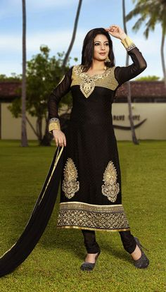 USD 68.95 Black Embroidered Churidar Party Wear Suit  40450