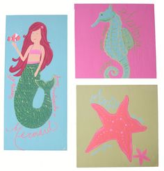 Wooden Plaque Paintings - Mermaid, Tropical, Starfish, Seahorse - Chid's Room Decor - M2M Pottery Barn Kids Collection on Etsy
