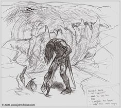 Dragon's Curse on Turin by Glaurung  - second sketch by John Howe