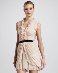 Vera Wang Blush Ruffled Cocktail Dress