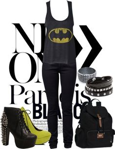Pin by Chloe Wilks on Nerd Nerd Outfits, Batman Outfits, Cool Outfits, Yellow Shoes, Black N Yellow, Nerd Fashion, Material Girls, Winter Outfits, Winter Clothes