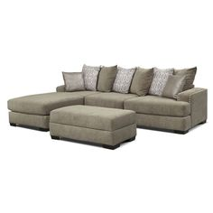 Right on Beat. The platinum-finished Tempo sectional living room collection feels as good as it looks with special suede-like microfiber and a versatile contemporary design. The timely neutral hue works well with whatever color scheme is featured in your home. Arms and cushions come extra wide, and brushed metal nailhead trim adds an elegant accent. Oversized pairs of decorative pillows round out the look.