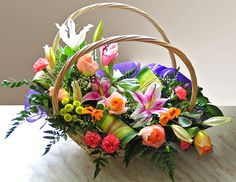 A beautiful basket of flowers Images