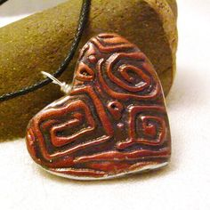 Handmade Polymer Clay Heart Pendant Necklace Double by averilpam, $23.50