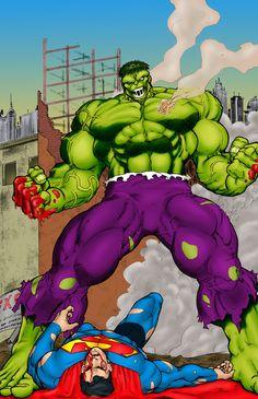 Hulk Beats Down Superman by statman71 on DeviantArt