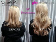 Hair extensions photos before & after - real clients with real human hair extensions. The best photos before & after of actual Glo Extensions Denver clients.