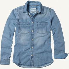 FatFace mid wash denim shirt Denim Shirts, Denim Top, Jean Shirts, Denim Button Up, Button Up Shirts, Formal Casual, Fat Face, Jacket, My Style