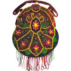 Gorgeous A/O European Floral Designed Purse with Beaded Straps