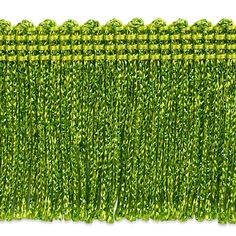 """2"""" Metallic Chainette Fringe Trim Lime from @fabricdotcom  This metallic fringe is a beautiful finishing touch on pillows, draperies, costumes and more. It features a 3/8'' header and 2'' long fringe."""