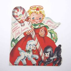 Vintage HALLMARK Christmas Card Die Cut Cute Angel Lambs Glittered Candy Cane