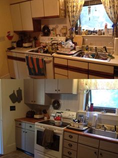 My before & after. Painting pressboard laminate cabinets. Kitchen redo = success!