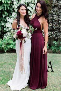 Charming Burgundy A-Line Halter Backless Maroon Chiffon Bridesmaid Dress with Sash,A-Line Prom Dresses,#prom,#dress,#burgundy,#aline,#simple,#vintage,#bridesmaiddress