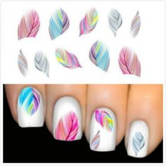 Til Denise Hot Sale Women Beauty Feather Nail Art Water Transfer Nail Art Stickers Tips Feather Decals
