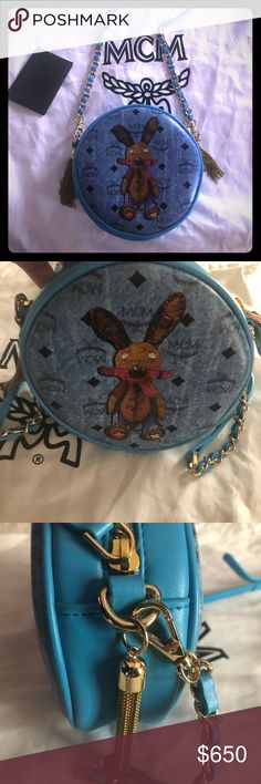 ⭐️RARE⭐️MCM blue tambourine rabbit bag This is one adorable and fun bag!! It is rare and is one of my favorite finds on Posh! It's in Excellent-like new condition. Strap is adjustable. Can be worn as a shoulder bag and crossbody. Can also be used as a fanny pack if you place it's back loop through your belt👍🏻All hardware is gold and intact. Inside is pristine-no flaws to mention. Although retail is $690, I will not sell for under $650 and TV $1000(d/t rarity) rather keep❤️ pair it with…