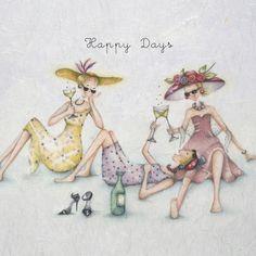"Cards ""Happy Days""- Berni Parker Designs ღ✟ Birthday Cards For Women, Birthday Images, Birthday Quotes, Humor Birthday, Happy Birthday Wishes, Birthday Greetings, Birthday Sentiments, Art Carte, Crazy Friends"