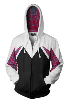 188a157343 Spider-Man: Into the Spider-Verse Gwen 3D Zip-Up Sweatshirt Adult