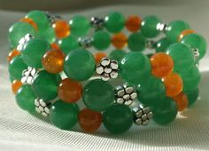 Aventurine and Jade Memory Wire Bracelet by CinsWhims on Etsy, $25.00
