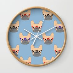New In Store French Bulldogs Wall Clock