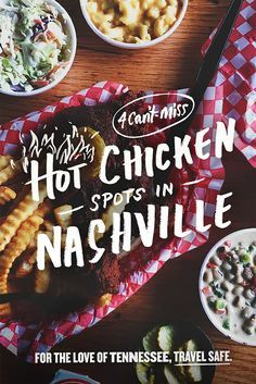 Love hot chicken? Check out our 5 favorite spots in Nashville for some fire fried chicken and see if you can handle the heat. Buffalo Chicken Tacos, Fried Chicken, Nashville, Fries, Handle, Canning, Hot, Ethnic Recipes, Check