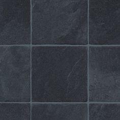 bathroom floor? 4.5MM EXTRA THICK VINYL FLOORING BLACK DARK TILE EFFECT SLIP RESISTANT LINO | eBay