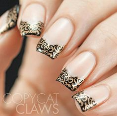 French tip stamping decals nail art, black & gold nails