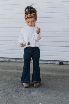 Toddler bell bottoms are a hot trend! Handmade to order and perfect for you're. - - Toddler bell bottoms are a hot trend! Handmade to order and perfect for you're little. Toddler bell bottoms are a hot trend! Handmade to order and per. Little Girl Outfits, Little Girl Fashion, Toddler Fashion, Toddler Outfits, Baby Boy Outfits, Cute Kids Outfits, Children Outfits, Little Girl Style, Toddler Girls