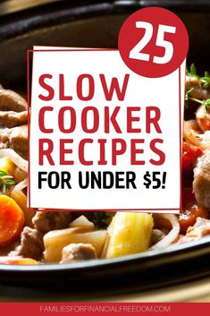 I love these 25 easy slow cooker recipes! Simple and cheap slow cooker recipes. Slow cooker recipes with chicken and beef. Cheap Easy Meals, Dinner Recipes Easy Quick, Inexpensive Meals, Cheap Dinners, Frugal Meals, Budget Meals, Quick Easy Meals, Money Budget, Budget Recipes
