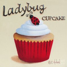 Image detail for -Ladybug Cupcake Painting by Catherine Holman - Ladybug Cupcake Fine ...
