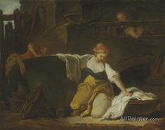 Jean Honore Fragonard,Young Washerwomen oil painting reproductions for sale