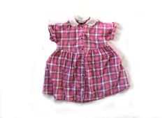 vintage 1990s dress children girl pink plaid by diaphanousvintage