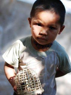 Bird seller, Laos