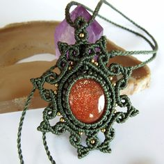 Macrame Necklace Pendant Cabochon Sunstone Quartz Stone Cotton Waxed Handmade #Handmade #Wrap