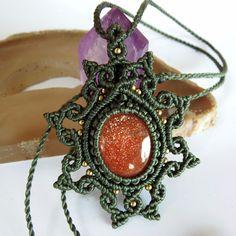 Macrame Necklace Pendant Cabochon Sunstone Quartz Stone Cotton Waxed Handmade #Handmade #Wrap