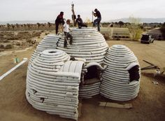The ingenious, cheap to make 'Earthbag Shelters/Homes' of late Iranian American Architect Nader Khalili, used as Housing for the poor, Emergency Shelters...  http://www.EarthBagBuilding.com/projects/sandbagshelters.htm ~ http://www.InspirationGreen.com/earthbag-construction.html ~ http://MisfitsArchitecture.com/category/architecture-misfits/ ~ https://CalEarth.org/