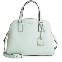 Women's Kate Spade New York Cameron Street - Lottie Leather Satchel (18.680 RUB) ❤ liked on Polyvore featuring bags, handbags, misty mint, leather satchel handbags, satchel handbags, mint green handbags, handbag satchel and genuine leather purse